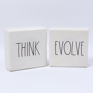 ✨Rae Dunn Ceramic Desk Paperweight THINK / EVOLVE✨